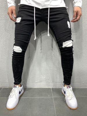 Black Side Striped Ripped Skinny Fit Jeans AY661 Streetwear Jeans - Sneakerjeans