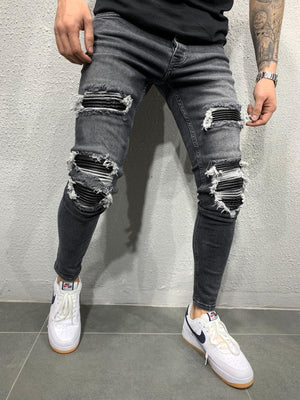Gray Patched Ripped Skinny Fit Jeans AY630 Streetwear Jeans - Sneakerjeans