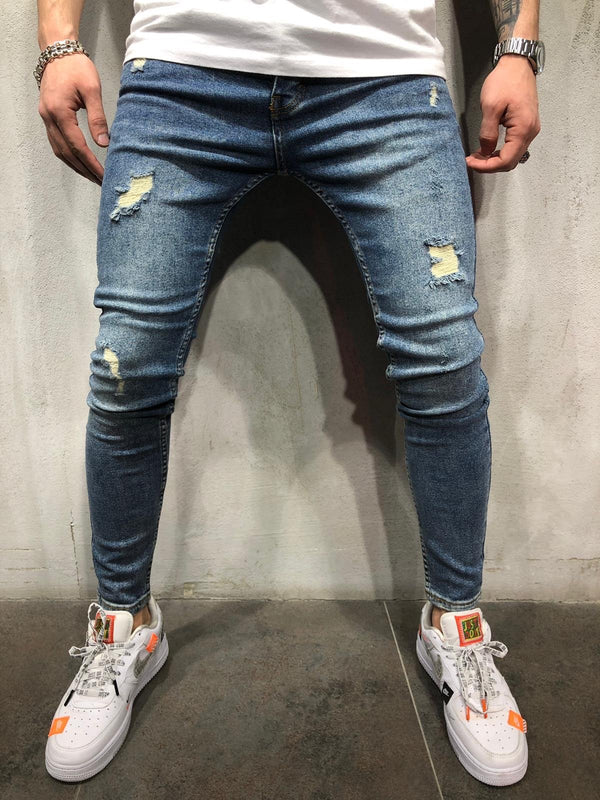Blue Vintage Washed Ripped Ultra Skinny Jeans AY406 Streetwear Mens Jeans - Sneakerjeans