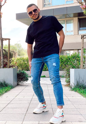 Sneakerjeans Blue Ripped Skinny Jeans AY405