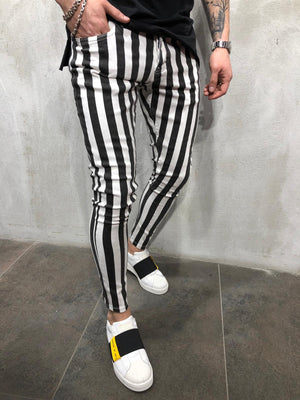 Black & White Striped Ultra Skinny Denim AY413 Streetwear Jeans - Sneakerjeans