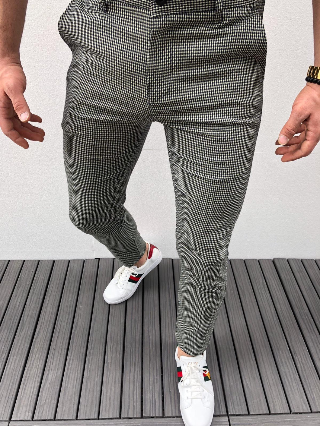 Gray Pattern Slim Fit Casual Pant DJ158 Streetwear Pant