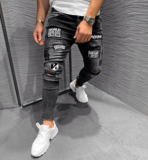 Black Patched Ripped Jeans Ultra Slim Fit Jeans KB235 Streetwear Mens Jeans - Sneakerjeans