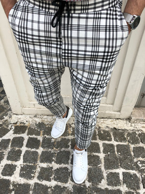 White Checkered Slim Fit Casual Mens Pant DJ174 Mens Pant - Sneakerjeans