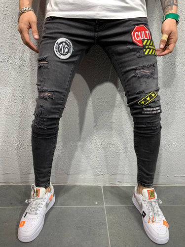 Black Patched Ripped Slim Fit Mens Jeans AY557 / 4452 Streetwear Mens Jeans