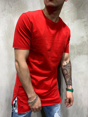 Red Ripped Oversized Mens T-Shirt AY469 Streetwear Mens T-Shirts - Sneakerjeans
