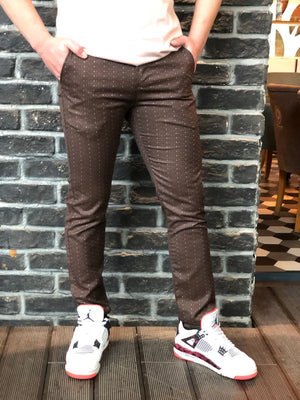 Brown Smoke Slim Fit Casual Pant DJ142 Streetwear Pant - Sneakerjeans