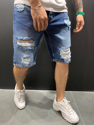 Blue Ripped Jeans Short AY589 Streetwear Mens Shorts - Sneakerjeans