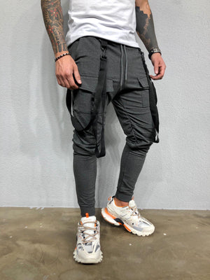 Strap Front Pocket Anthracite Joggers BL450 Streetwear Mens Jogger Pants - Sneakerjeans
