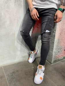 Ankle Zip Washed Black Jeans Slim Fit Mens Jeans AY492 Streetwear Mens Jeans