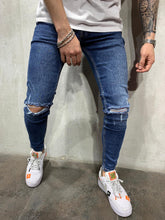 Load image into Gallery viewer, Dark Blue Ripped Jeans Slim Fit Mens Jeans AY514 Streetwear Mens Jeans - Sneakerjeans