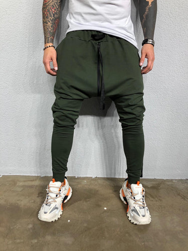 Kahki Banding Ankle Zip Baggy Joggers BL474 Streetwear Mens Jogger Pants