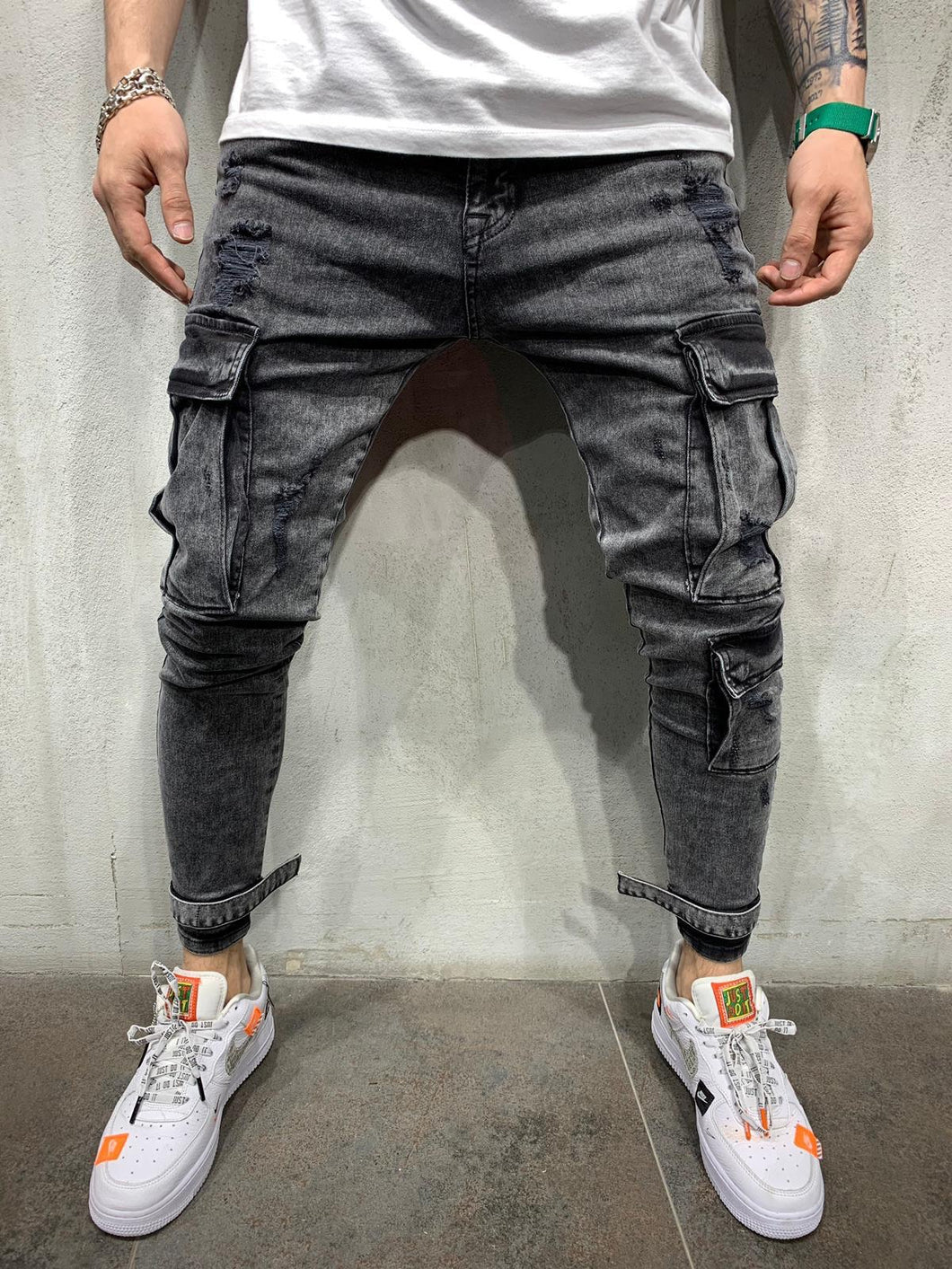 Ankle Strap Cargo Pocket Washed Black Jeans Slim Fit Mens Jeans AY502 Streetwear Mens Jeans