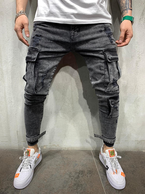 Ankle Strap Cargo Pocket Washed Black Jeans Slim Fit Mens Jeans AY502 Streetwear Mens Jeans - Sneakerjeans