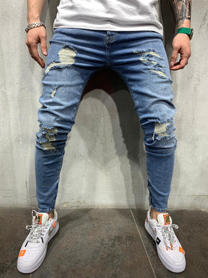 Washed Vintage Ripped Blue Jeans Slim Fit Mens Jeans AY501 Streetwear Mens Jeans - Sneakerjeans