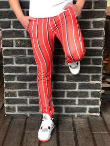 Red Striped Slim Fit Casual Mens Pant DJ184 Mens Pant