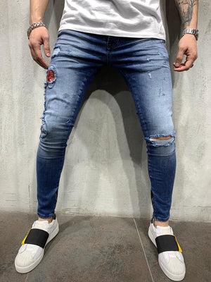 Sneakerjeans - Blue Snake Patched Jeans Skinny Jeans AY451 - Sneakerjeans