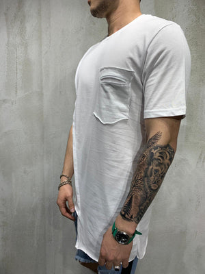 White Asymetric Oversized Mens T-Shirt AY472 Streetwear Mens T-Shirts - Sneakerjeans