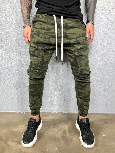 Kahki Camouflage Front Cargo Pocket Banding Jogger Jeans Pant BL581 Streetwear Jeans