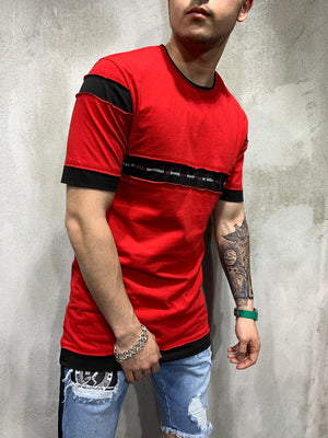 Red Stripe Part Oversized Mens T-Shirt AY474 Streetwear Mens T-Shirts - Sneakerjeans