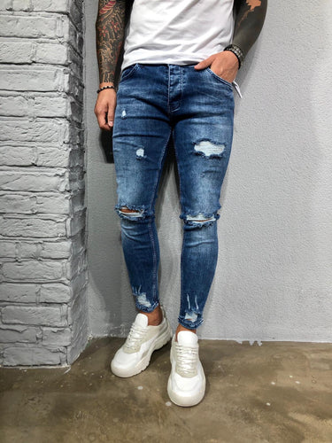 Blue Washed Ripped Ultra Skinny Pant BL575 Streetwear Jeans