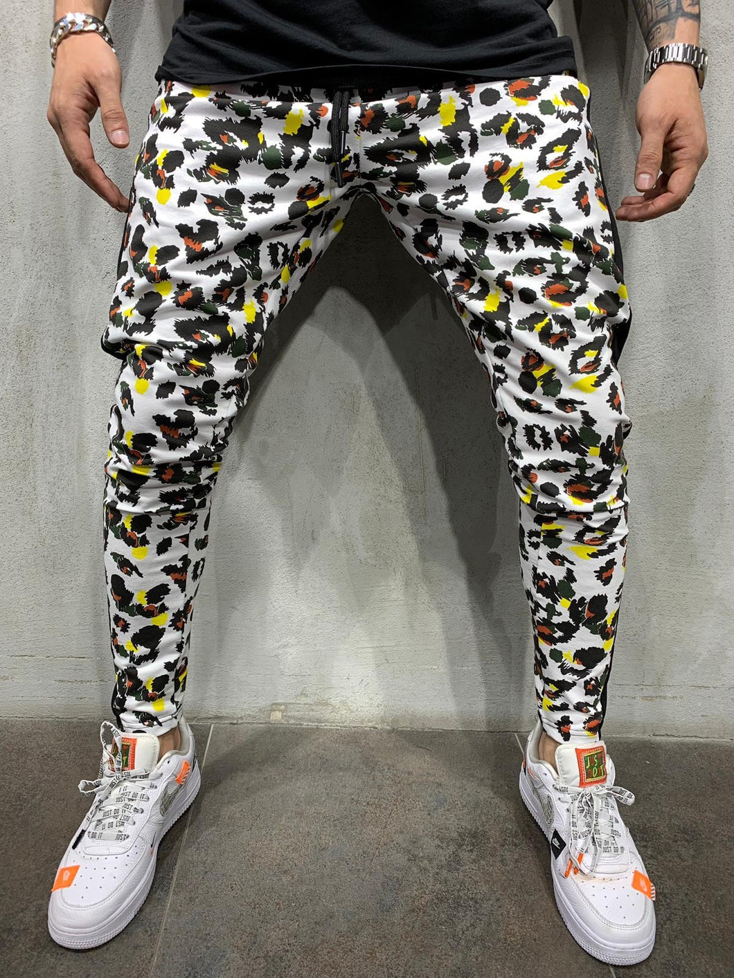 White Camouflage Side Striped Jogger Pant AY524 Streetwear Mens Jogger Pants
