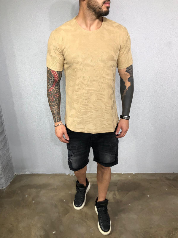 Beige Pattern Mens T-Shirt BL527 Streetwear Mens T-Shirts - Sneakerjeans