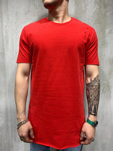 Red Ripped Oversized Mens T-Shirt AY469 Streetwear Mens T-Shirts