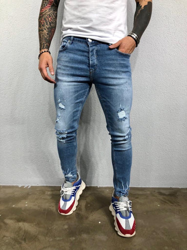 Blue Washed Ripped Jeans Slim Fit Jeans BL500 Streetwear Mens Jeans