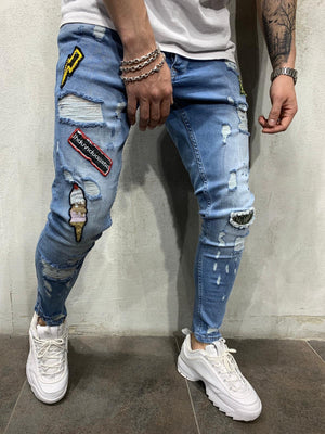 Blue Patched Jeans Slim Fit Mens Jeans AY450 Streetwear Mens Jeans - Sneakerjeans