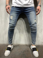 Load image into Gallery viewer, Vintage Blue Jeans Slim Fit Mens Jeans AY452 Streetwear Mens Jeans