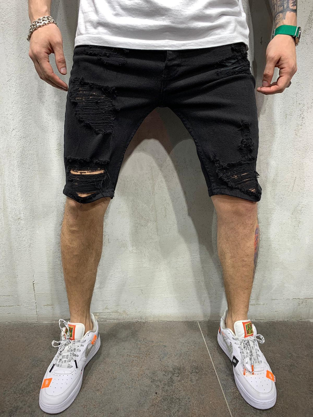 Black Ripped Jeans Short AY464 Streetwear Mens Shorts