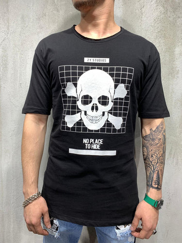 Black Skull Printed Oversized Mens T-Shirt AY478 Streetwear Mens T-Shirts