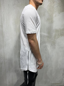 White Side Zip Oversized Mens T-Shirt AY432 Streetwear Mens T-Shirts
