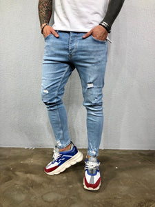 Light Blue Washed Ripped Jeans Slim Fit Jeans BL499 Streetwear Mens Jeans