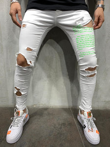 Neon Green Printed White Ripped Slim Fit Mens Jeans AY547 / 4448 Streetwear Mens Jeans