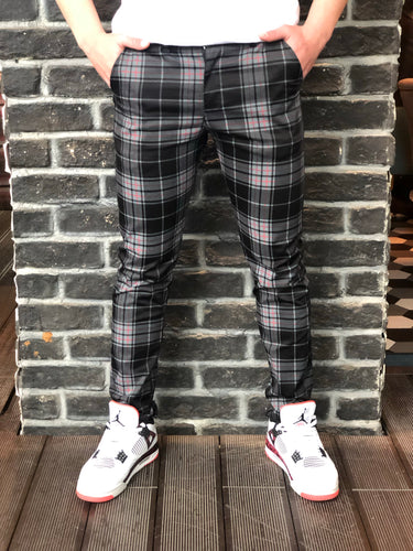 Black Gray Mixed Colour Checkered Slim Fit Casual Pant DJ124 Streetwear Pant