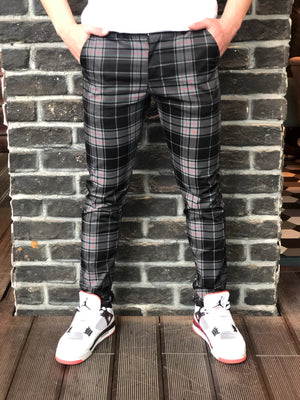 Black Gray Mixed Colour Checkered Slim Fit Casual Pant DJ124 Streetwear Pant - Sneakerjeans