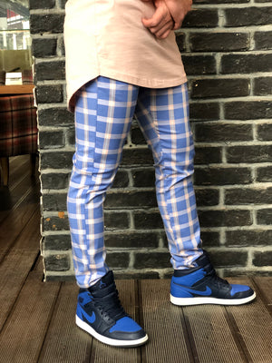 Blue Pink Colour Checkered Slim Fit Casual Pant DJ136 Streetwear Pant - Sneakerjeans