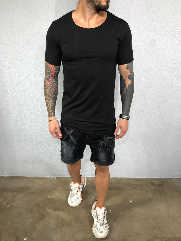Black Mens T-Shirt BL558 Streetwear Mens T-Shirts - Sneakerjeans