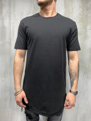 Black Side Zip Oversized Mens T-Shirt AY433 Streetwear Mens T-Shirts