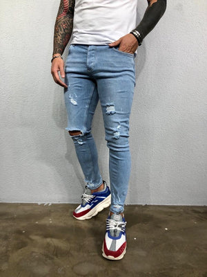 Light Blue Washed Ripped Jeans Slim Fit Jeans BL499 Streetwear Mens Jeans - Sneakerjeans