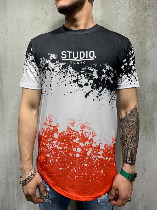 Black Mixed Colour Printed Oversized Mens T-Shirt AY480 Streetwear Mens T-Shirts - Sneakerjeans