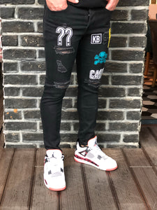Patched Black Ripped Jeans Ultra Skinny Jeans KB161 Streetwear Mens Jeans