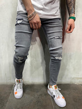 Load image into Gallery viewer, Washed Gray Jeans Slim Fit Mens Jeans AY490 Streetwear Mens Jeans