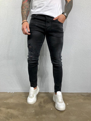 Black Ripped Jeans Slim Fit Jeans BL476 Streetwear Mens Jeans