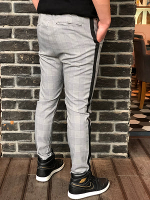 Gray Side Striped Checkered Slim Fit Casual Mens Pant DJ175 Mens Pant - Sneakerjeans