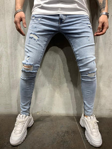 Light Blue Ripped Jeans Slim Fit Mens Jeans AY447 Streetwear Mens Jeans
