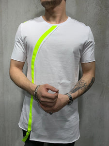 White Neon Strap Oversized Mens T-Shirt AY430 Streetwear Mens T-Shirts