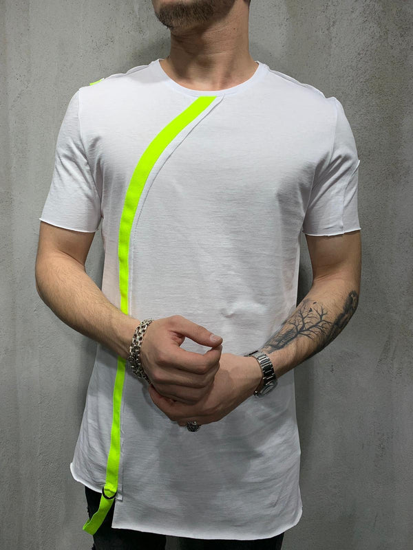 White Neon Strap Oversized Mens T-Shirt AY430 Streetwear Mens T-Shirts - Sneakerjeans